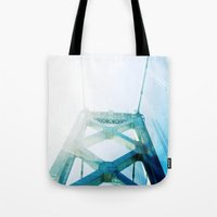 oakland Tote Bags featuring oakland bay bridge  by Ciara Rose Photography