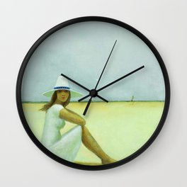 A Plage Américaine beach coastal landscape painting by Jéanpaul Lemieux Wall Clock