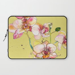 Pink Orchids in Yellow Laptop Sleeve