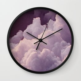 Abstract hand painted blush pink lilac watercolor clouds pattern Wall Clock