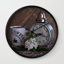 Good morning- vintage alarm clock and cup of coffee Wall Clock