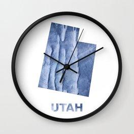 Utah map outline Blue watercolor Wall Clock