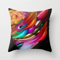 asia Throw Pillows featuring Asia by Bartosz Piotrowski
