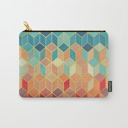 Colorful Squares with Gold - Friendly Colors and Marble Texture Carry-All Pouch