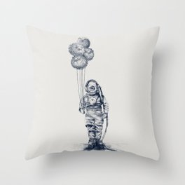 Balloon Fish - monochrome option Throw Pillow