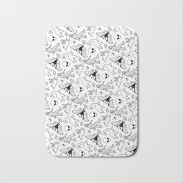 Cryptid Lineart Pattern 2 (White) Bath Mat
