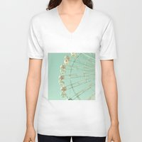ferris wheel V-neck T-shirts featuring Winter Ferris Wheel  by Caroline Mint