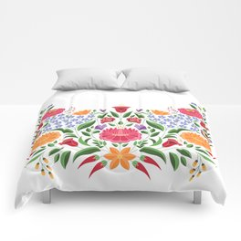 Hungarian folk pattern – Kalocsa embroidery flowers Comforters