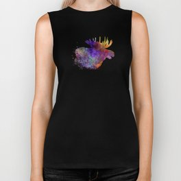 Moose 06 in watercolor Biker Tank