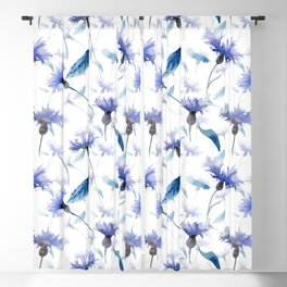 Blue cornflowers Blackout Curtain