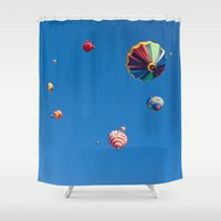 aviation Shower Curtains featuring Vibrant Hot Air Balloons by Nicolas Raymond