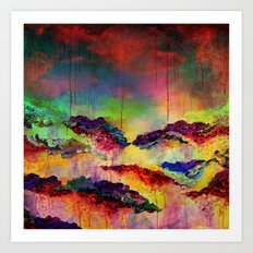 IT'S A ROSE COLORED LIFE 4 - Deep Red Colorful Floral Garden Abstract Crimson Green Painting Art Print