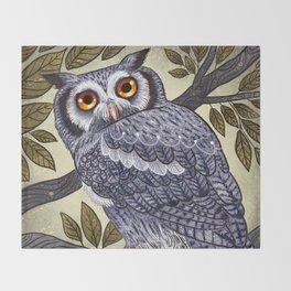 White Faced Owl Throw Blanket