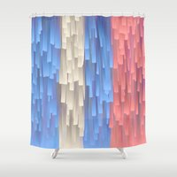 fringe Shower Curtains featuring Fringe (Blue) by Jacqueline Maldonado