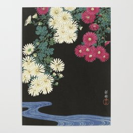 Chrysanthemums and Running Water Poster