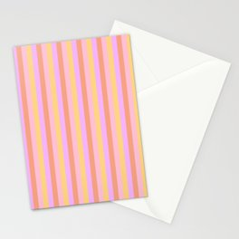 Hibiscus Hawaiian Flower Cabana Stripes in Pink, Yellow, Peach and Lilac Stationery Cards