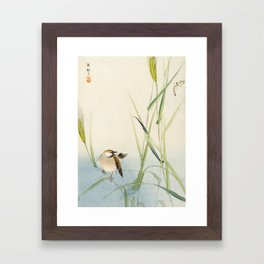 Sparrow and Butterfly  - Vintage Japanese Woodblock Print Art Framed Art Print