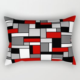 Mid Century Modern Color Blocks in Red, Gray, Black and White Rectangular Pillow