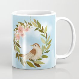 Blue Sky, Blooms And A Beautiful Bird Coffee Mug