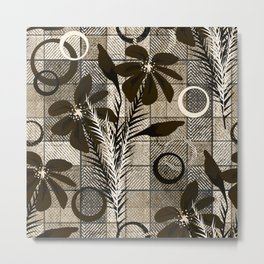 Flowers on a checkered background in a rustic style. Metal Print