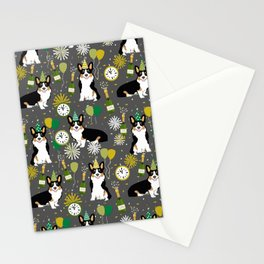 Tricorgi New Years Eve - NYE, tricolored corgi, corgi gift, corgi  lover Stationery Cards