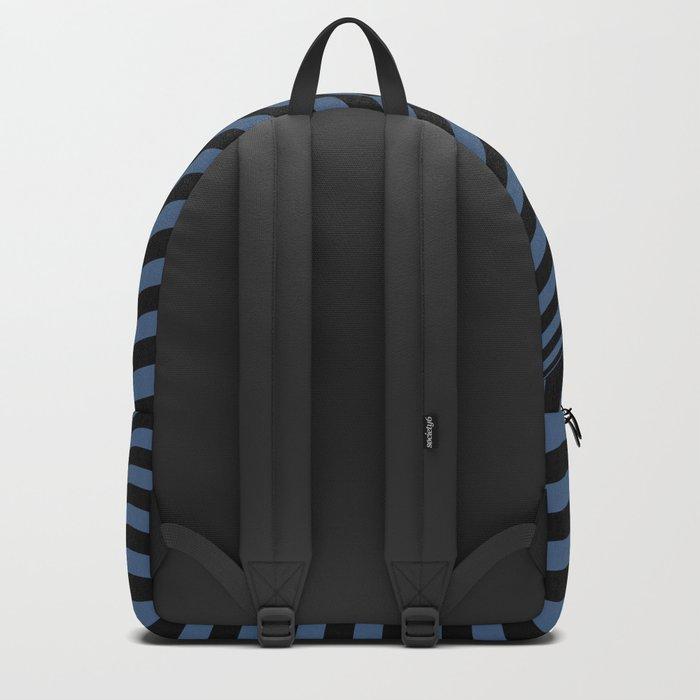 Blue , black , striped Backpack