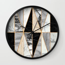 Marble Triangles - Black and White Marble Wall Clock