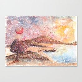 Paradise Watercolor Painting Canvas Print