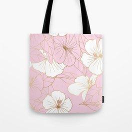 Pastel Pink & Gold Hibiscus Floral Tote Bag