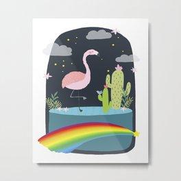 Flamingo over the rainbow Metal Print