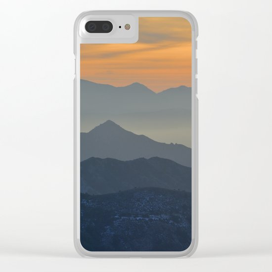 Sunset at the mountains Clear iPhone Case