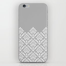 Damask Baroque Part Pattern White on Grey iPhone Skin