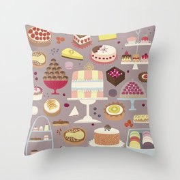 Patisserie Cakes and Good Things Throw Pillow