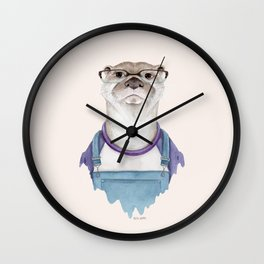 O is for an Otter in Overalls Wall Clock
