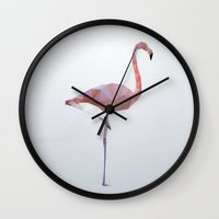 flamingo Wall Clocks featuring Flamingo by Three of the Possessed