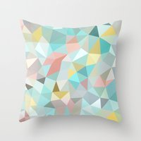 pastel Throw Pillows featuring Pastel Tris by Beth Thompson