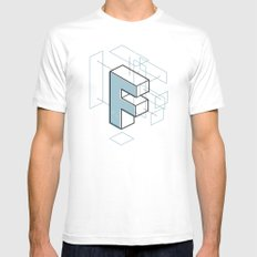 The Exploded Alphabet / F MEDIUM White Mens Fitted Tee