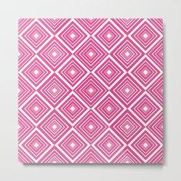 Diamond Pattern Dark Pink and White Metal Print