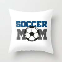 soccer Throw Pillows featuring soccer mom by Tassara