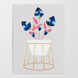 Blue Strawberry Flowers Poster