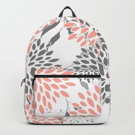 Festive, Floral Prints, Leaves and Blooms, Coral and Gray Backpack