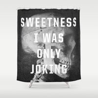 the smiths Shower Curtains featuring Sweetness by Anna Dorfman