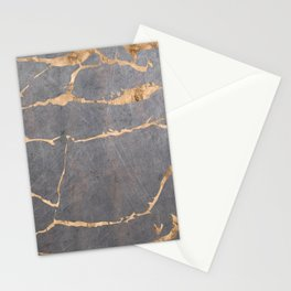 Marble gray with gold Stationery Cards