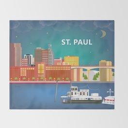 St. Paul, Minnesota - Skyline Illustration by Loose Petals Throw Blanket