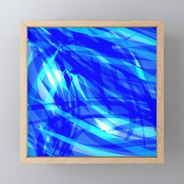 Vector glowing water background made of blue sea lines. Framed Mini Art Print