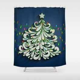 Christmas tree with colorful lights Shower Curtain