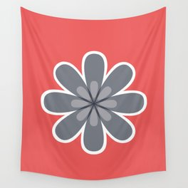 Symmetrical floral pattern, grey and coral red geometric flower Wall Tapestry