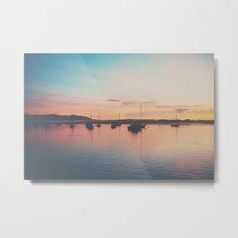 A neon sunset in Morro Bay  Metal Print