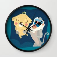 king Wall Clocks featuring King by Maria Jose Da Luz