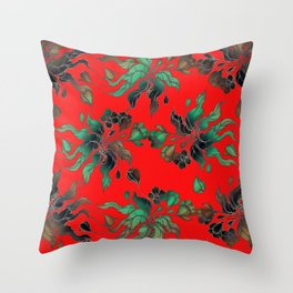 Vintage floral seamless pattern with hand drawn flowering crocus on the red background Throw Pillow